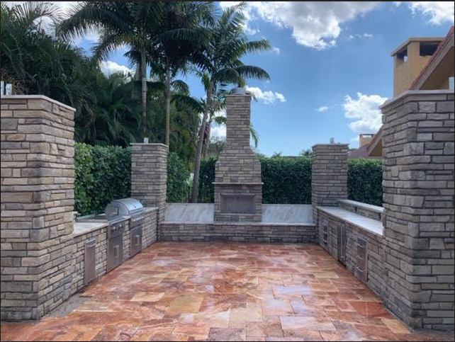 Outdoor Kitchen Patio & Wall